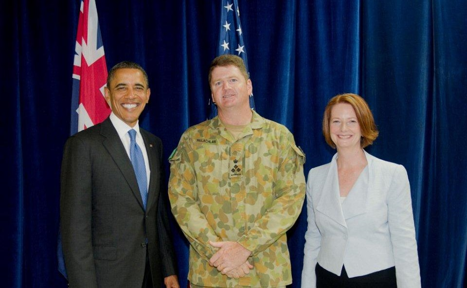 Gus McLachlan with President Barak Obama and Prime Minister Julia gillard