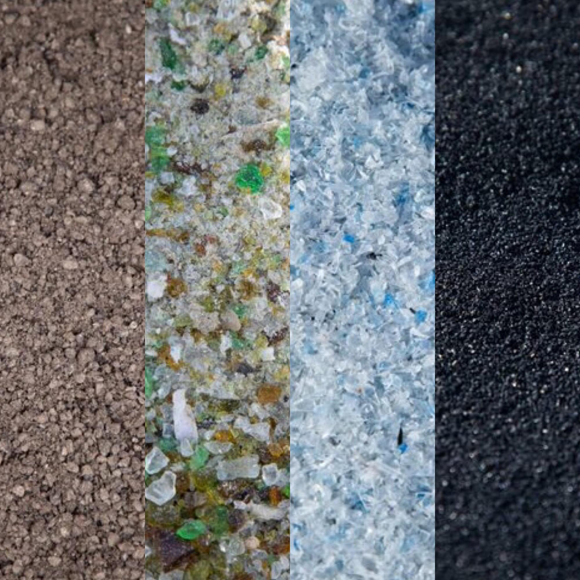 Recycled Asphalt Pavement, Glass, Plastic, Tyres