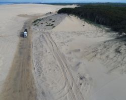 An aerial view of the dune operations at Stockton Quarry