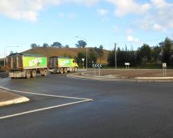 A truck leaving the Boral Maldon Operations precinct at the Picton Road roundabout