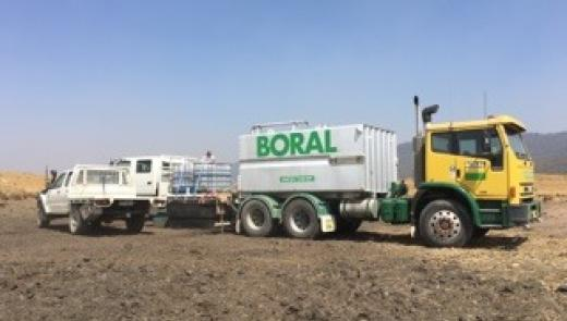 A Boral water tanker assists farmers, National Parks and RFS tackle fires in the Snowy Mountains